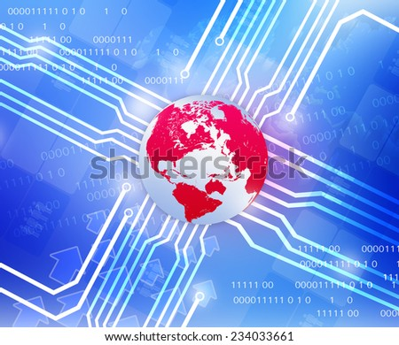 Red Globe world map and wiring diagram departing in sides - stock photo