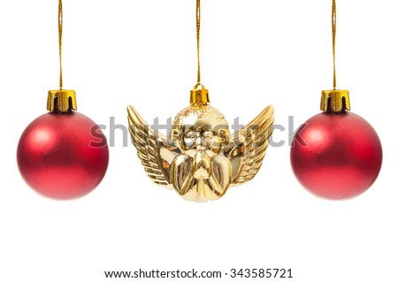 Red globes and one Christmas angel decoration hanging isolated on white background