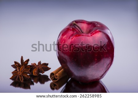 Red gloss apple with white hotspots on the sides standing with cinnamon stick and a few anise stars. - stock photo