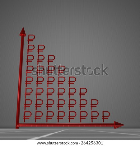 Red glossy bar chart of ruble signs showing decrease, standing on gray background - stock photo