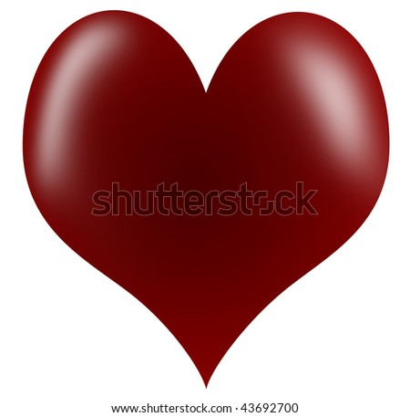 red  glossy heart made as a vector