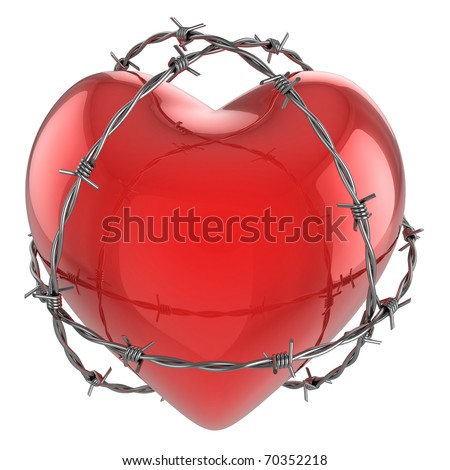 Red glossy heart surrounded by barbed wire 3d illustration - stock photo