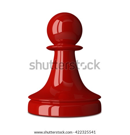 Red glossy shiny chess pawn isolated on white background with small soft shadow. 3D illustration - stock photo
