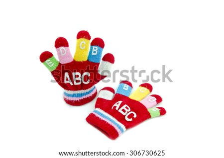 red glove with word ABCDEFGIJ isolated white background - stock photo
