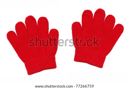 Red gloves on white background - stock photo