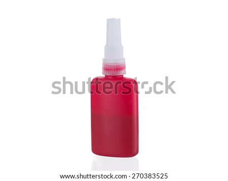 Red glue bottle isolated on white background