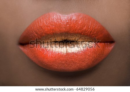 Red & Gold Lips - stock photo