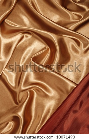 Red gold silk with red corner, background, texture - stock photo