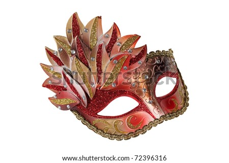Red-gold Venetian mask isolated on white - stock photo