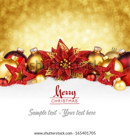 red golden christmas greeting card - stock photo
