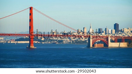 Red Golden Gate Bridge with San Francisco Skyline in Background