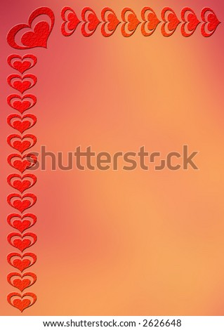 Red-golden notepaper with heart border - stock photo