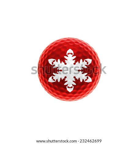 Red golf-ball with snowflake - stock photo