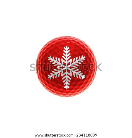 Red golf-ball with snowflake