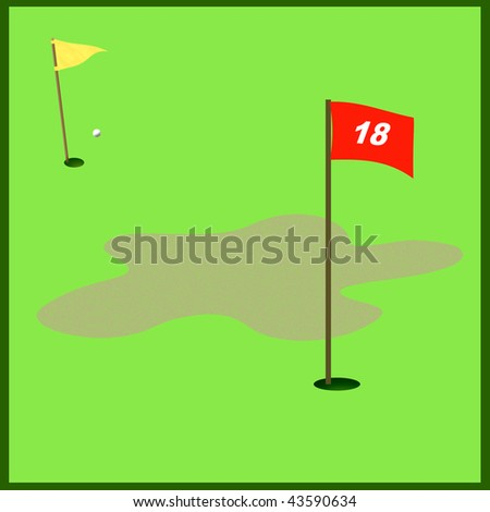 red golf flag illustration on the green - stock photo