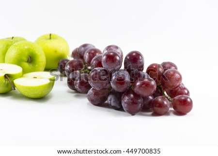Red grape and green apple isolated on white background.Fruit for health and Hi-vitamin and Nourishing blood system. - stock photo