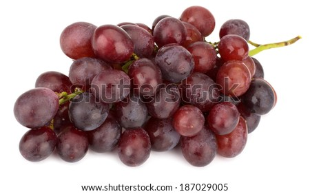 Red grape bunch isolated on white background - stock photo