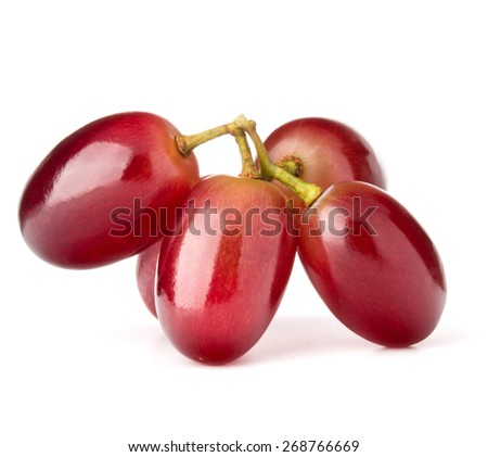 Red grape bunch isolated on white background cutout - stock photo