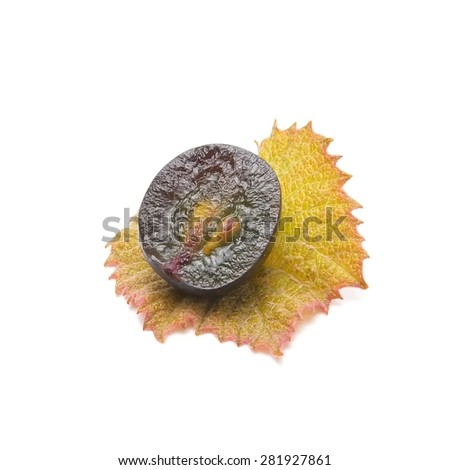 red grape fruit, macro isolated on white - stock photo