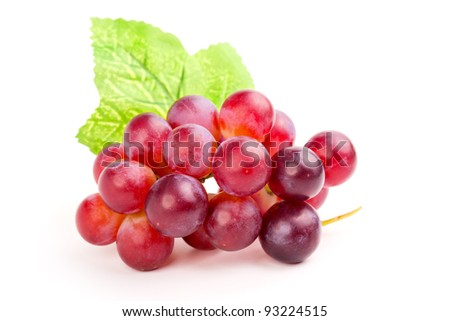 red grape, isolated on white background. - stock photo