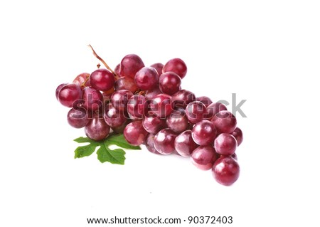 Red grape with leaf isolated on white background - stock photo