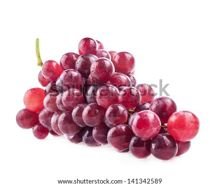 Red grape with water drops, closeup, isolated on white background - stock photo