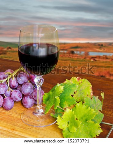 red grape with wine and leaf - stock photo