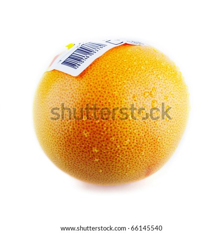 Red grapefruit with bar code sticker and drops isolated on white - stock photo