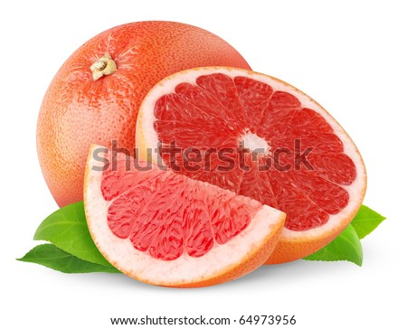 Red grapefruits isolated on white - stock photo