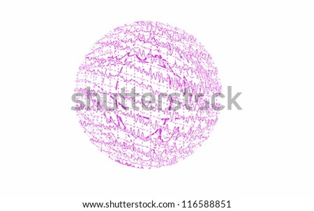 Red graph brain wave EEG isolated on white background (illustration) - stock photo