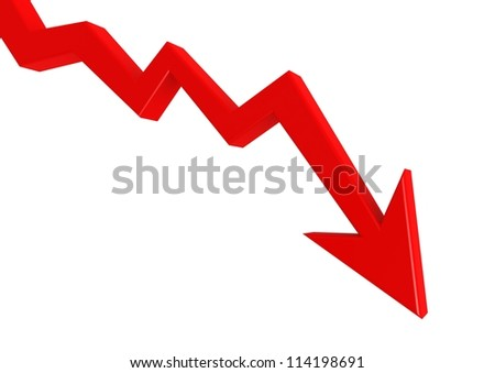 Red graph down - stock photo