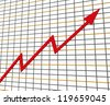 Red Graph Showing Profit Line Increase Achievement Progress - stock photo