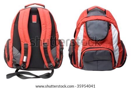 Red-gray backpack isolated on white background - stock photo