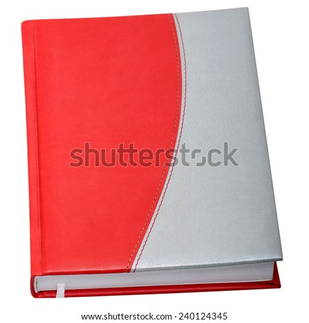 Red-gray datebook on the white background - stock photo