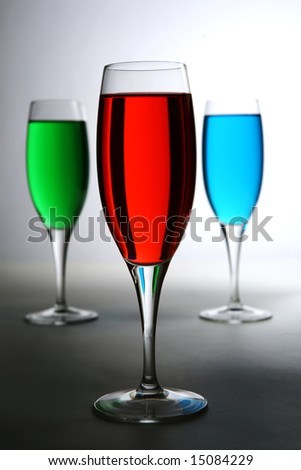 red green and blue colored cocktail