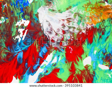 red, green and blue of arts paper acrylic water effect background texture abstract painting