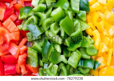red, green and yellow pepper - stock photo
