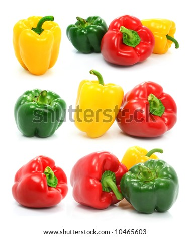 red green and yellow pepper vegetables set isolated on the white background - stock photo