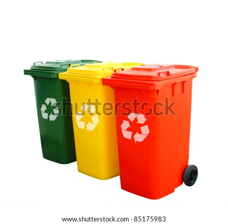 Red green and yellow recycle bins isolated