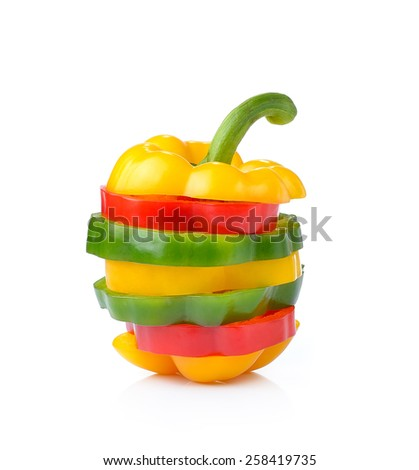 red, green and yellow sliced pepper isolated on white background - stock photo