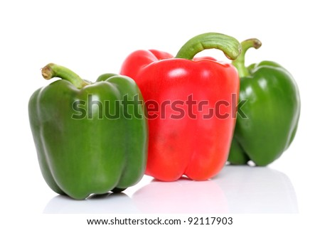 Red & Green bell pepper isolated on white - stock photo