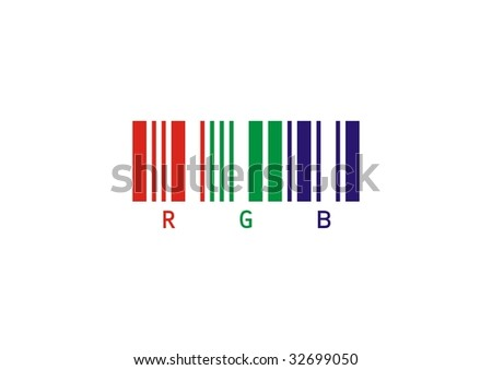 red green blue color bar code - stock photo