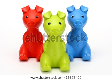 Red, green, blue piggy banks - stock photo