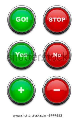 Red & Green buttons with various captions