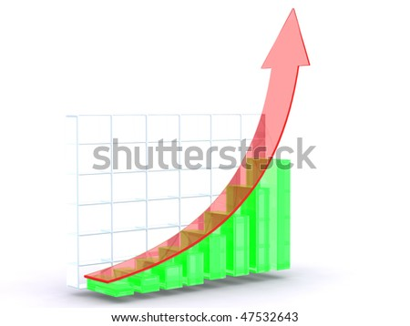 Red Green Growth Graph - stock photo