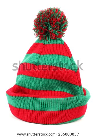 Red green winter cap - stock photo