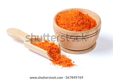 Red ground paprika isolated on white - stock photo
