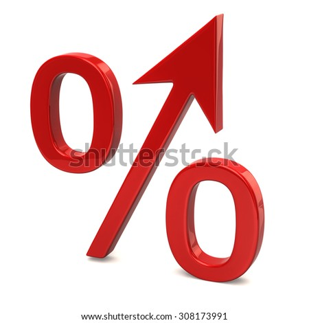 Red growing percent sign on white background - stock photo