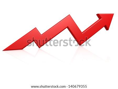 Red growth arrow - stock photo