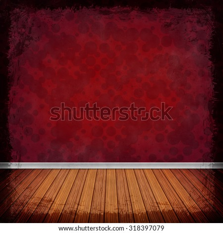 Red grunge background. Old abstract vintage texture with frame and border.